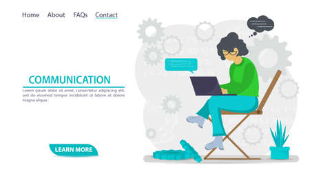 illustration for the design of web pages and mobile applications, a girl sitting in an inflatable chair, drinking a drink in a Cup, flat cartoon style Illusztráció