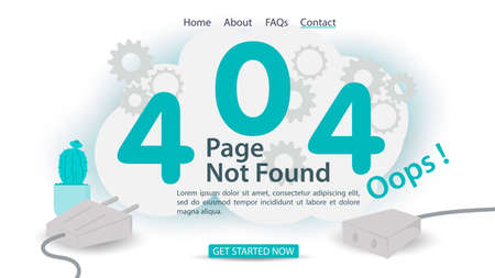 oops, 404 error, page not found, banner Internet connection problems, robot clicks the number four, for websites and mobile apps, Flat vector illustration Illusztráció