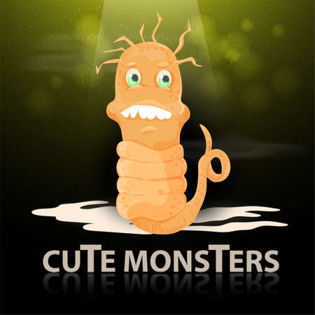 flat illustration of a cartoon cute yellow monster with spots a snake crawling in the light beam, the mirror inscription