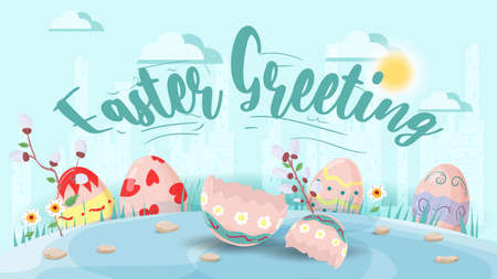 Easter greeting, Large inscription, Chicken sitting on a painted egg in a clearing. Flat vector illustration banner for holiday design decoration.