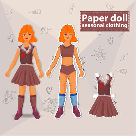 Paper doll illustration, to create a toy for cutting, vector Isolated from the background, layout of a teenage girl and in a yellow tank top and blue skirt Vektoros illusztráció