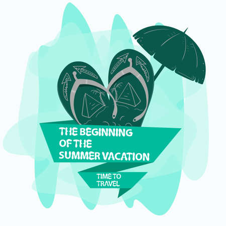 icon sticker for design design on the theme of vacation vacation and travel, beach slippers with an umbrella and a flag, with an inscription slogan, the background can be removed