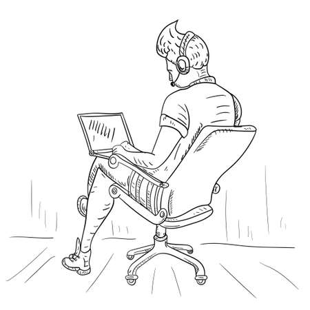 The guy is sitting in a chair with his feet on the table, isolated contour drawing, for the design of web pages and mobile applications