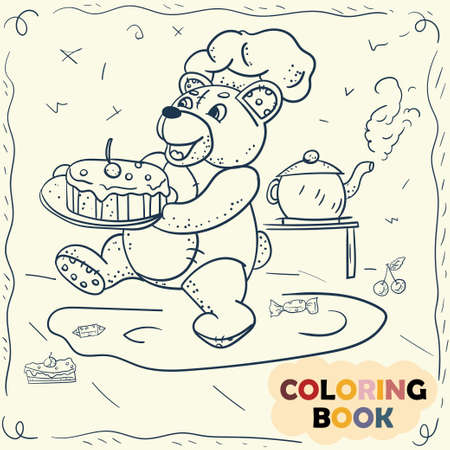 Coloring Book for Small Children contour illustration in doodle style, Teddy bear toy sitting in a clearing eating honey on a stick
