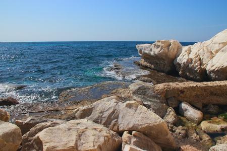 hanikra: A white rock on the Mediterranean coast near the Rosh Hanikra, Israel