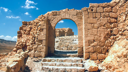 masada: Shattered the gateway to the ruins of the fortress of Masada in Israel