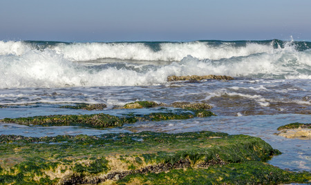 hanikra: morning surf on the Mediterranean sea near Rosh Hanikra, Israel Stock Photo