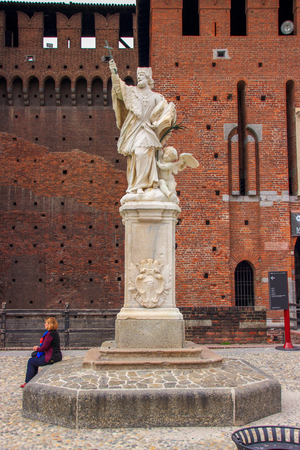 sforzesco: the statue in the courtyard of the Castello Sforzesco in Milan, Italy Editorial
