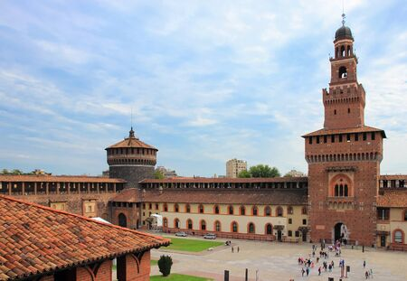 sforzesco: Powder and corner towers, and a fragment of a courtyard and walls of the Sforzesco Castle Editorial