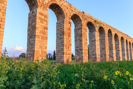acre: Remains of an ancient Roman aqueduct between Acre and Nahariya