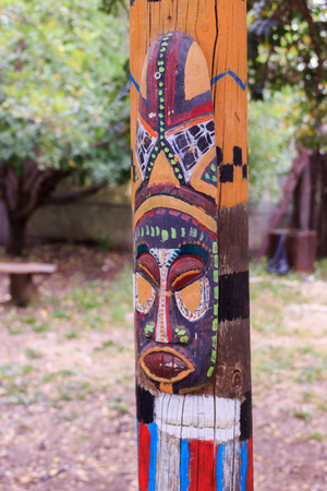 guise: North American totem mask on the totem pole