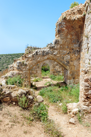 passageways: Montfort Castle ruins in northern Israel. Arched passageways through the halls.