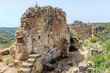 crusade: Remains of walls of castle Monfort in northern Israel.