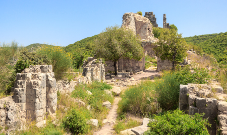passageway: Montfort Castle ruins in northern Israel. Arched passageway through the halls.