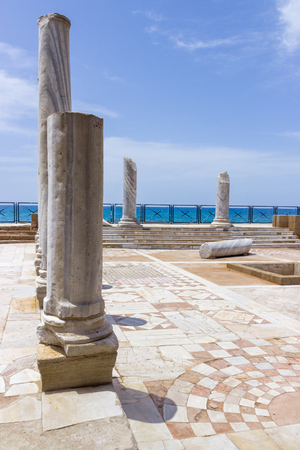 caesarea: Fragment of buildings inside in the ruined city of Caesarea in Israel. Stock Photo