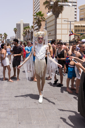 yearly: Tel Aviv, Israel, June 03, 2016: Members of the traditional yearly pride parade poses for the photographer in Tel Aviv, Israel Editorial