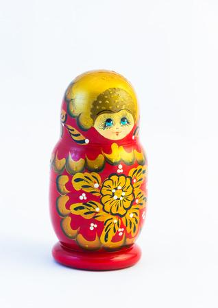 russian nesting dolls: One big matryoshka russian nesting dolls isolated on white background