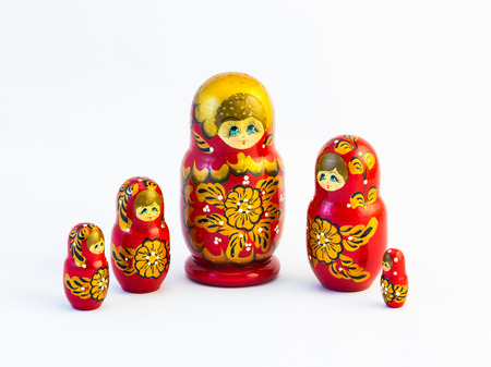 Set of five traditional Russian matryoshka dolls on white background Stock Photo