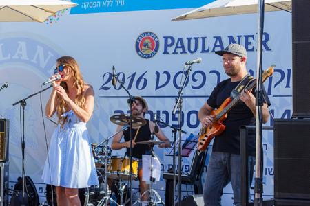 biergarten: Tel Aviv, Israel, September 16, 2016: Performance of the musical group Beer garden at the annual beer festival in Tel Aviv, Israel Editorial