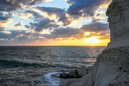 hanikra: Sunset on the Mediterranean Sea. View from Rosh Hanikra Stock Photo