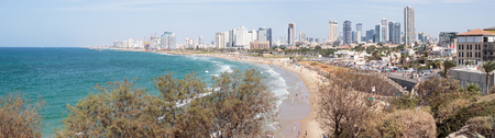 yafo: Yafo, Israel, October 15, 2016: Panoramic view of the seafront of Yafo and Tel Aviv, Israel