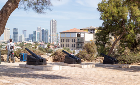 yafo: Yafo, Israel, October 15, 2016: Antique cannon in old city Yafo, Israel Editorial