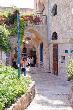 jaffa: Yafo, Israel, October 15, 2016: Quiet street in old city Yafo, Israel