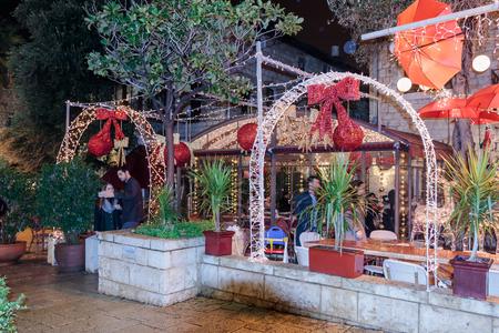 Haifa, Israel - December 29, 2016 : Holiday decorations street for Christmas in the German Colony in Haifa, Israel Editorial