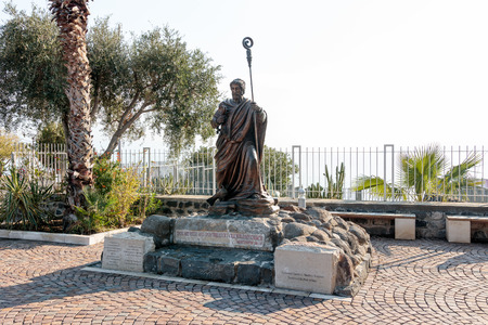 Statue in the courtyard of the Franciscan monastery in Capernaum (Cafarnaum).