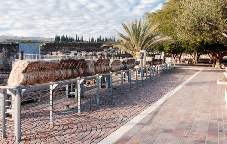 new testament: Remains of the White Synagogue in Capernaum (Cafarnaum). Stock Photo