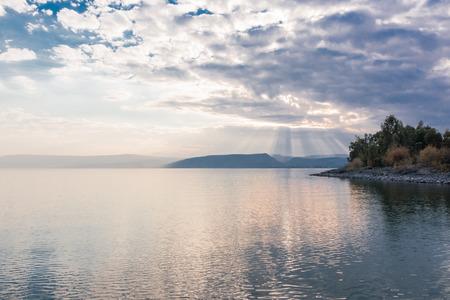 Sunset on Lake Kinneret near the town of Tiberias, Israel