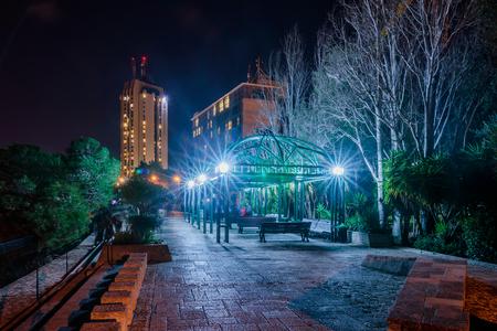 Pergola on Louis Promenade  at night Haifa, Israel