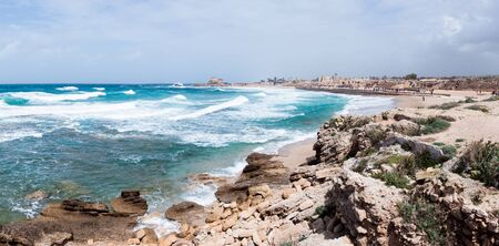 Small storm on the Mediterranean Sea on the port of Caesarea in the old town in Israel Stock Photo