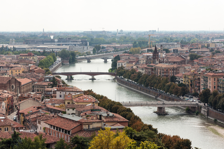 View of the Adige River and the old town of Verona from the observation point Punto panoramico Castel S. Pietro located on the square Piazzale Castel S. Pietro