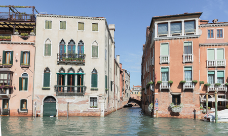 Venice, Italy - September 28, 2015 : Water channels of Venice city. Small channel Rio di San Marcuola departing from the Grand Canal in Venice, Italy.
