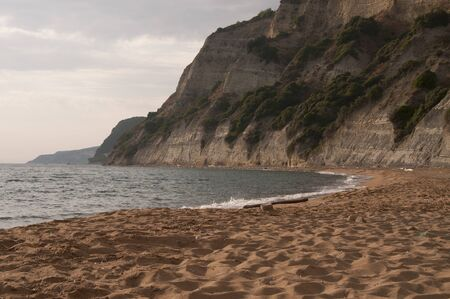 One of the beautiful secluded beaches on Corfu island, Greece
