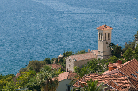 Old roof view against sea, Montenegro