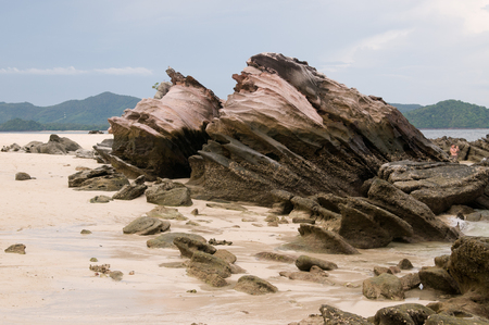 Mystery rocks on the beach of the island in Andaman Sea which appeared after tsunami