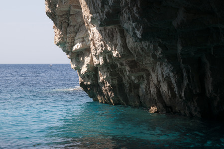 One of sea caves on Corfu island, Greece