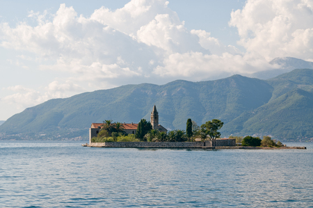 Old cathedral on the island near Budva, Montenegro Stock Photo