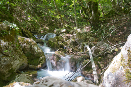 Small waterfall in the mountains of Montenegro