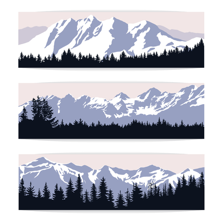 hill distant: Set of three landscape banners with silhouettes of cold distant mountains and forest. Realistic vector illustration of winter nature