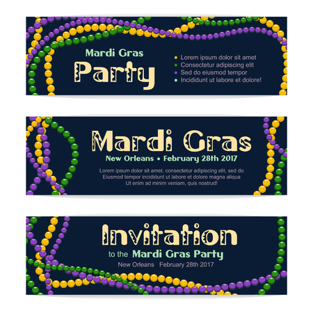 Three vector banners for Mardi Gras celebration, invitation to a party. Colorful beads on dark background, typographic header Ilustração