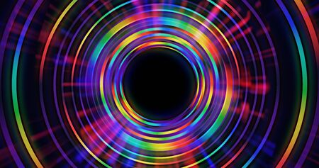 Abstract saturated rainbow colorful circle background. Glowing rays emanate from center. 3D rendered design element