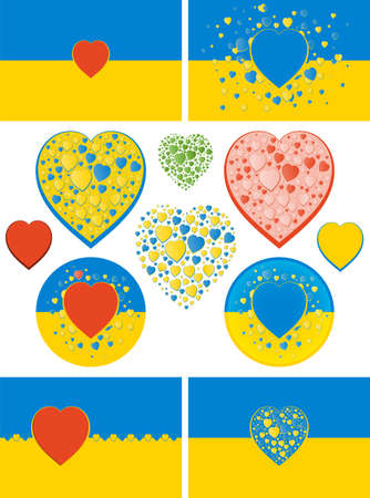 State flag of Ukraine with hearts variations. Green, red and bicolour blue and yellow hearts. Flag colors of Ukraine except red and green