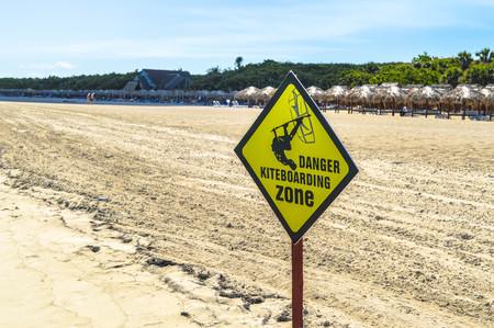 kiteboarding: Danger Zone Kiteboarding Board, Varadero Cuba Stock Photo