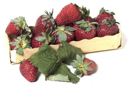Box with strawberries isolated