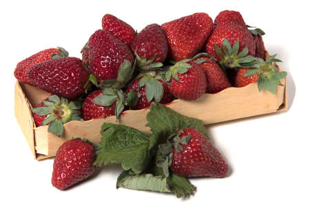 Box with raw strawberries Stock Photo