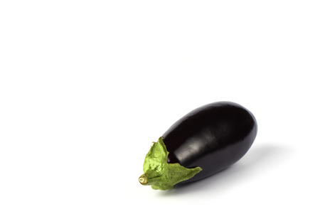 Eggplant or aubergine isolated on white background. Copy space. Border design
