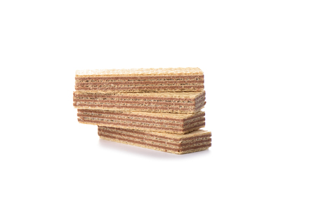 Wafer chocolate dessert isolated on white background. Copy space